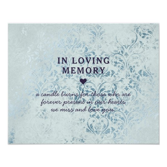 Annabelle Blue Damask In Loving Memory Sign