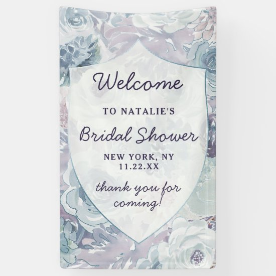 Annabelle Floral Crest Bridal Shower Welcome Banner