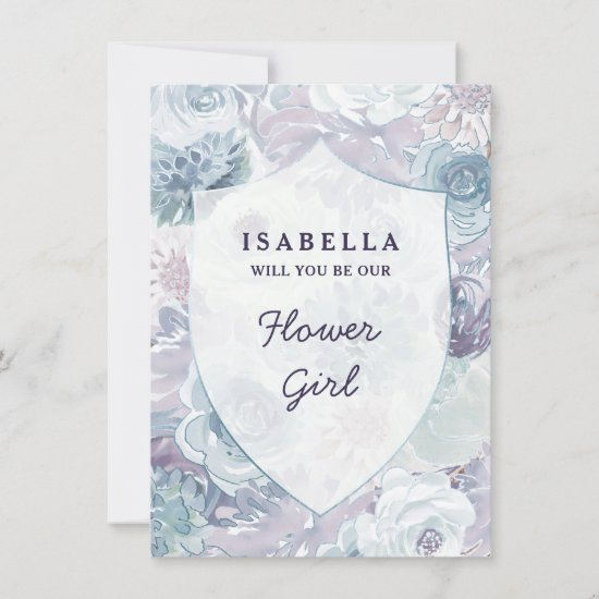 Annabelle Floral Crest Flower Girl Proposal Card