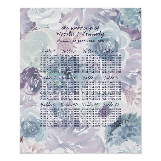 Annabelle Floral Wedding Table Seating Chart