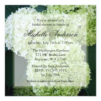 """Annabelle Hydrangeas Bridal Shower Invitations 5.25"""" Square Invitation Card"""