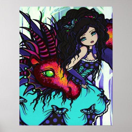 Annabelle & Jax Fairy Princess Dragon Fantasy Art Print