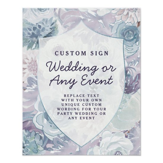 Annabelle Vintage Blue Crest Custom Wedding Sign