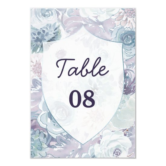 Annabelle Vintage Blue Crest Wedding Table Numbers