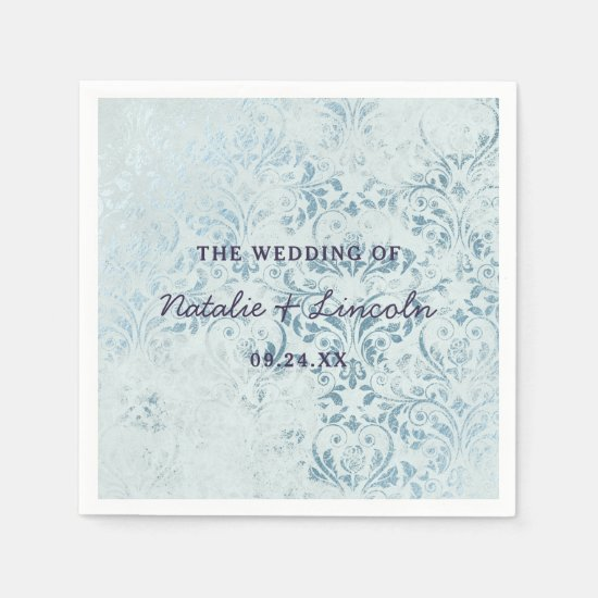 Annabelle Vintage Blue Damask Wedding Monogram Napkin