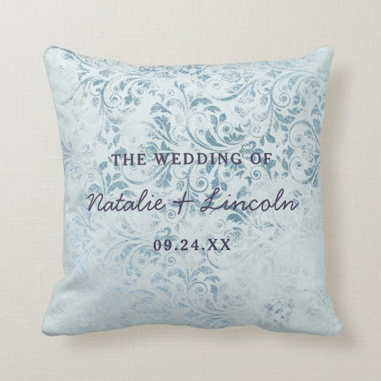 Annabelle Vintage Blue Damask Wedding Monogram Throw Pillow
