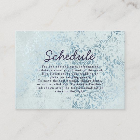 Annabelle Vintage Blue Damask Wedding Schedule Enclosure Card