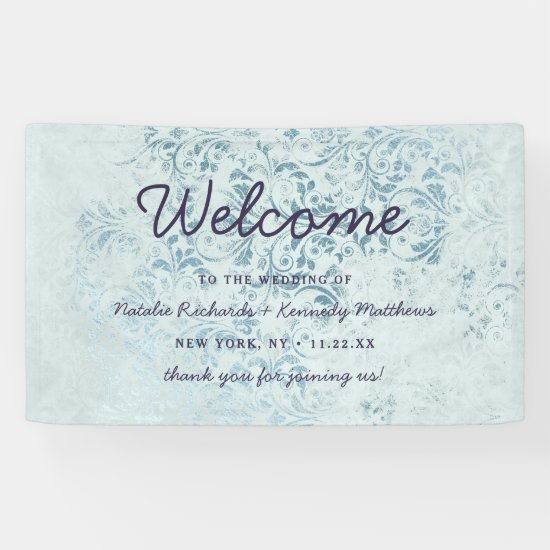 Annabelle Vintage Blue Damask Wedding Welcome Banner