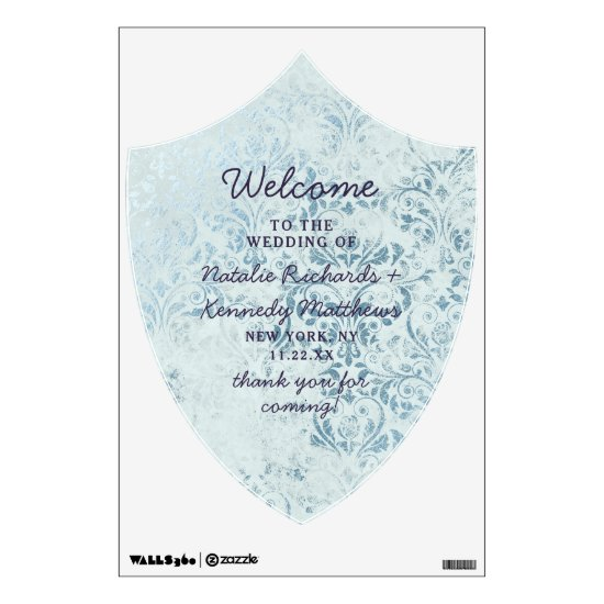 Annabelle Vintage Blue Damask Welcome Sign Wall Decal