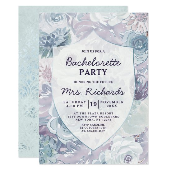 Annabelle Vintage Blue Floral Bachelorette Party Invitation