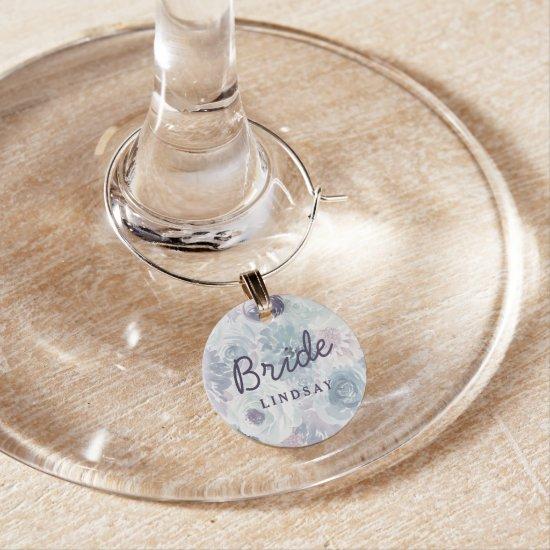 Annabelle Vintage Blue Floral Bride Personalized Wine Charm