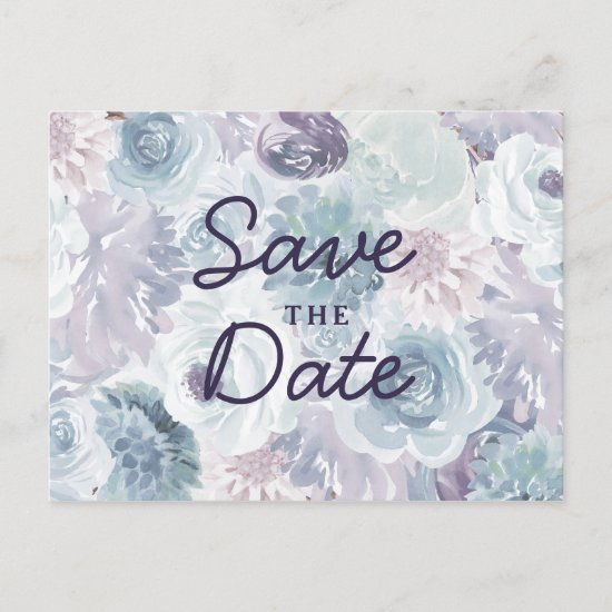 Annabelle Vintage Blue Floral Chic Save the Date Announcement Postcard