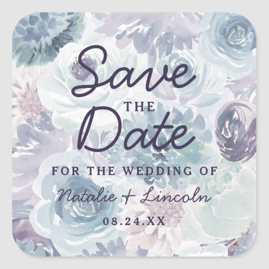Annabelle Vintage Blue Floral Chic Save the Date Square Sticker