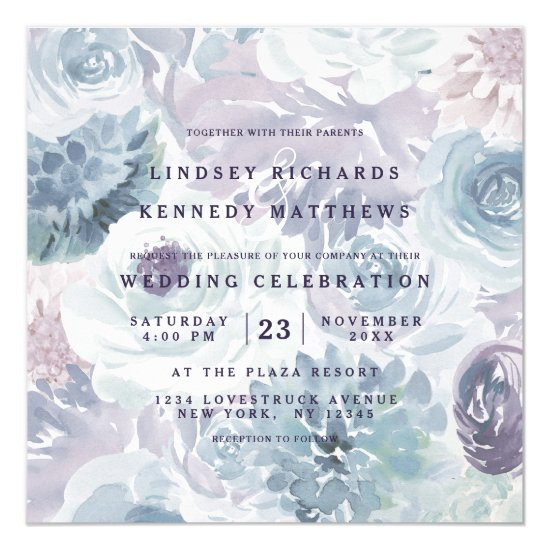 Annabelle Vintage Blue Floral Chic Wedding Square Invitation
