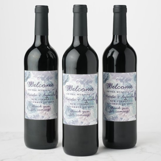 Annabelle Vintage Blue Floral Chic Wedding Welcome Wine Label