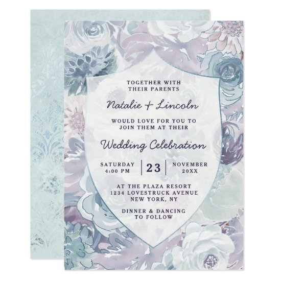 Annabelle Vintage Blue Floral Crest Framed Wedding Invitation