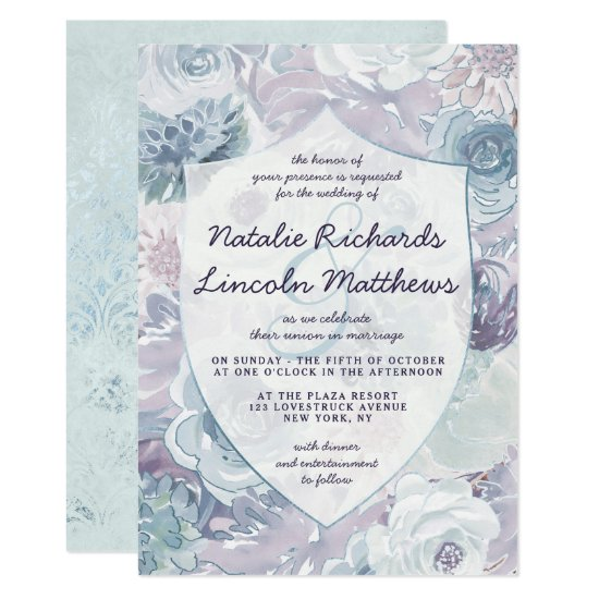 Annabelle Vintage Blue Floral Crest Wedding Invitation
