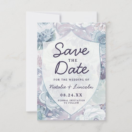 Annabelle Vintage Blue Floral Crest Wedding Save The Date