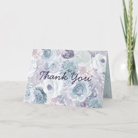 Annabelle Vintage Blue Floral Custom Wedding Photo Thank You Card