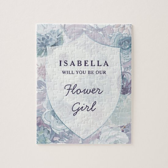 Annabelle Vintage Blue Floral Flower Girl Proposal Jigsaw Puzzle
