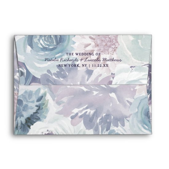 Annabelle Vintage Blue Floral Monogram Wedding Envelope