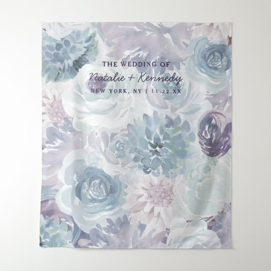 Annabelle Vintage Blue Floral Photo Booth Backdrop