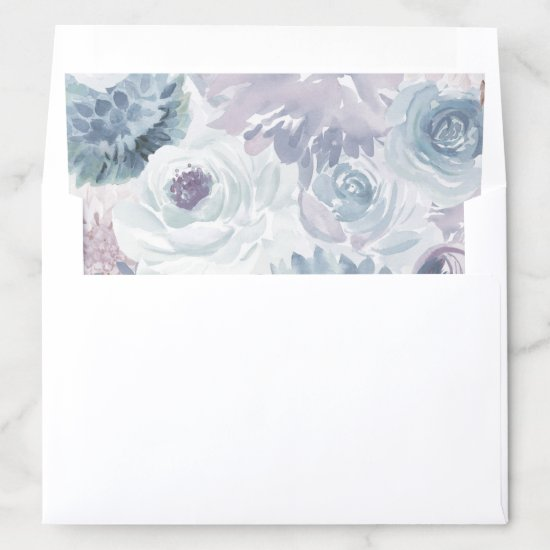 Annabelle Vintage Blue Floral Watercolor Wedding Envelope Liner
