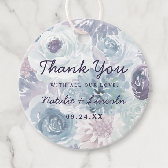 Annabelle Vintage Blue Floral Watercolor Wedding Favor Tags