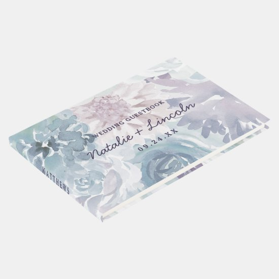 Annabelle Vintage Blue Floral Watercolor Wedding Guest Book