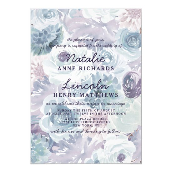 Annabelle Vintage Blue Floral Watercolor Wedding Invitation