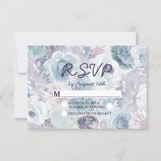 Annabelle Vintage Blue Floral Watercolor Wedding RSVP Card