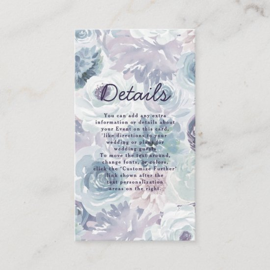 Annabelle Vintage Blue Floral Wedding Details Enclosure Card