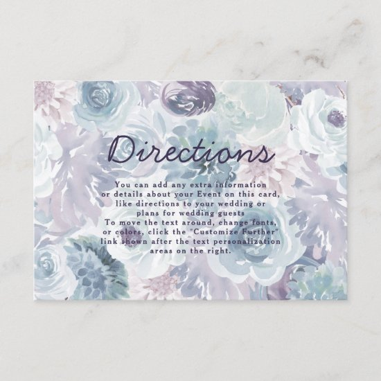 Annabelle Vintage Blue Floral Wedding Directions Enclosure Card