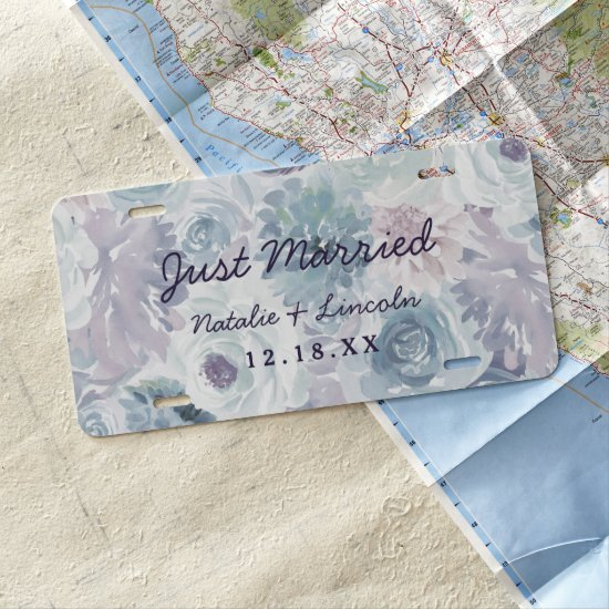 Annabelle Vintage Blue Floral Wedding Just Married License Plate