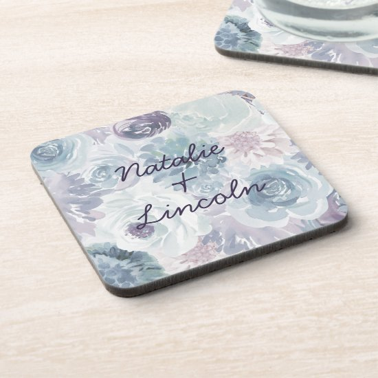 Annabelle Vintage Blue Floral Wedding Monogram Beverage Coaster