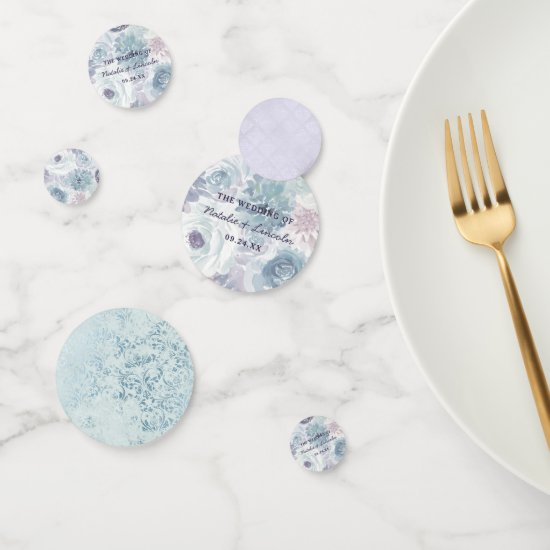 Annabelle Vintage Blue Floral Wedding Monogram Confetti