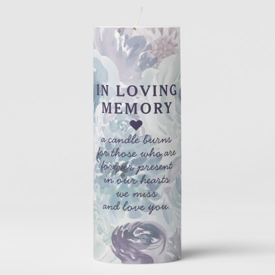 Annabelle Vintage Blue Floral Wedding Monogram Pillar Candle