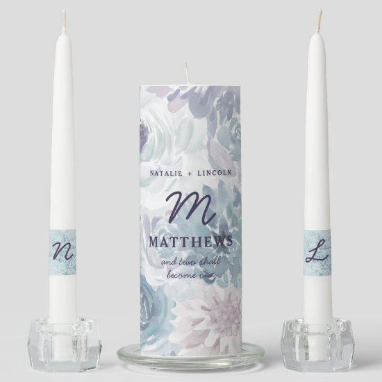 Annabelle Vintage Blue Floral Wedding Monogram Unity Candle Set