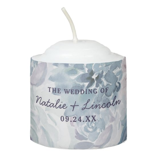 Annabelle Vintage Blue Floral Wedding Monogram Votive Candle
