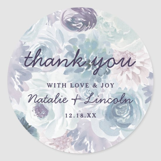 Annabelle Vintage Blue Floral Wedding Thank You Classic Round Sticker