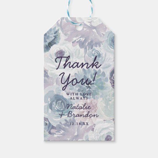 Annabelle Vintage Blue Floral Wedding Thank You Gift Tags