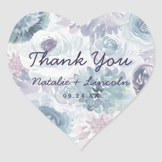 Annabelle Vintage Blue Floral Wedding Thank You Heart Sticker