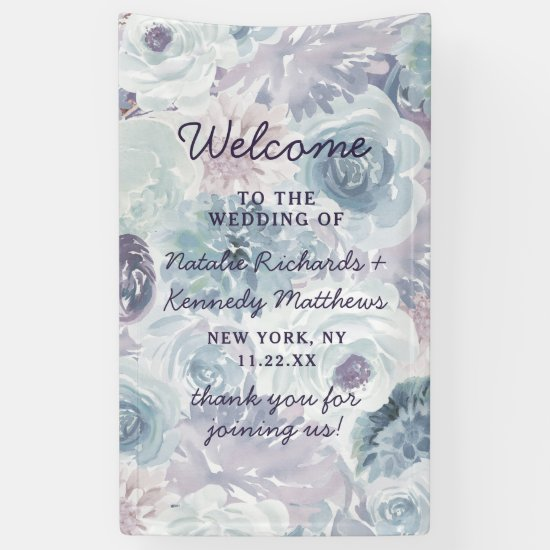 Annabelle Vintage Blue Floral Wedding Welcome Banner