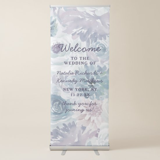 Annabelle Vintage Blue Floral Wedding Welcome Retractable Banner