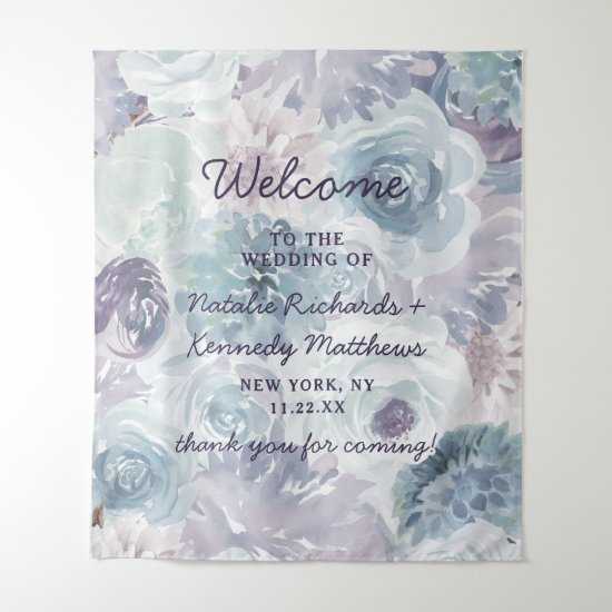 Annabelle Vintage Blue Floral Wedding Welcome Tapestry