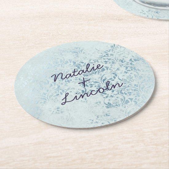 Annabelle Vintage Blue Foil Damask Monogram Round Paper Coaster
