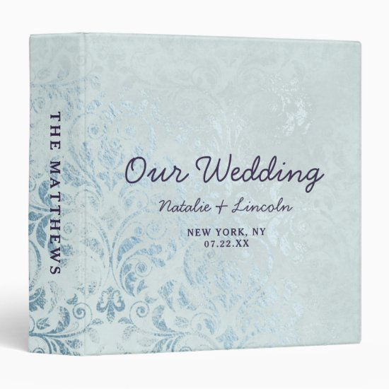 Annabelle Vintage Blue Foil Wedding Photo Album 3 Ring Binder