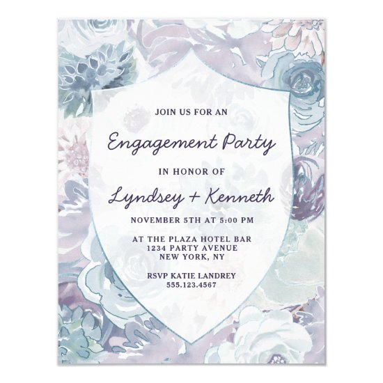 Annabelle Vintage Crest Floral Engagement Party Invitation