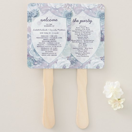Annabelle Vintage Crest Wedding Ceremony Program Hand Fan