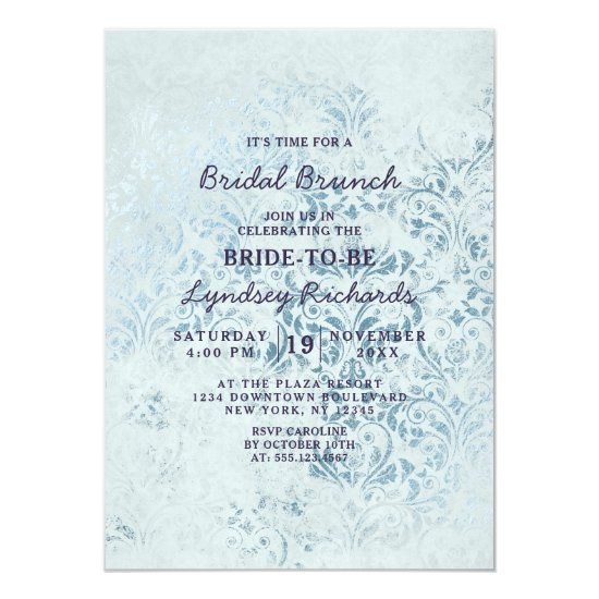 Annabelle Vintage Damask Bridal Brunch Shower Invitation